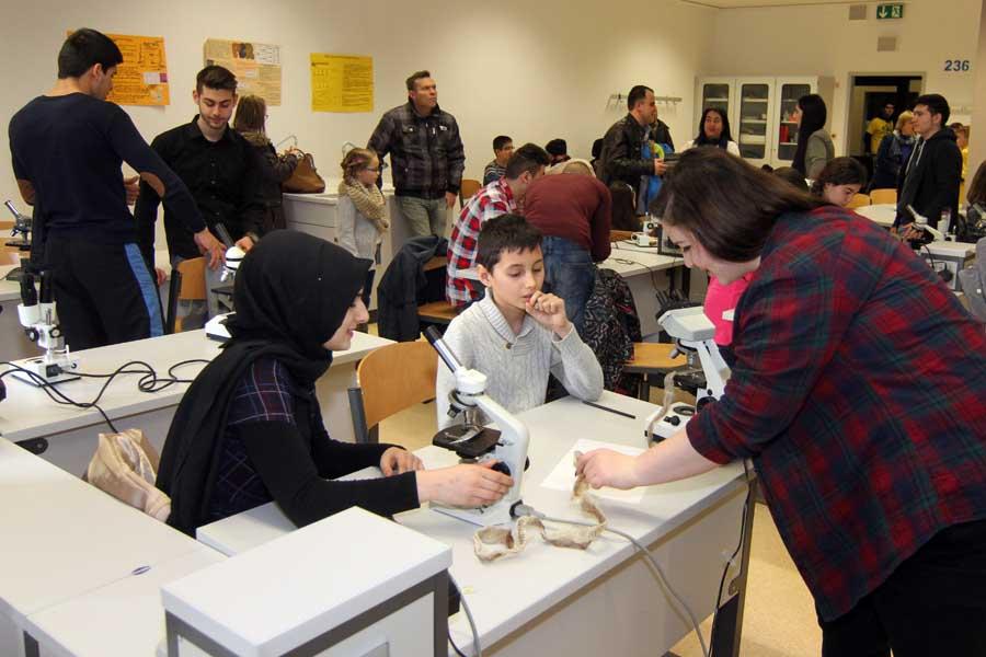Mikroskopieren im Biologieraum